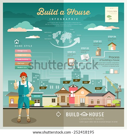 Building constructions your house engineering infographic design background, vector illustrations - stock vector