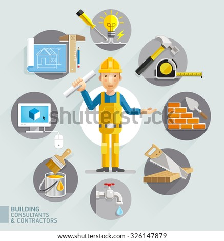 Building consultants & contractors. Vector illustrations. - stock vector