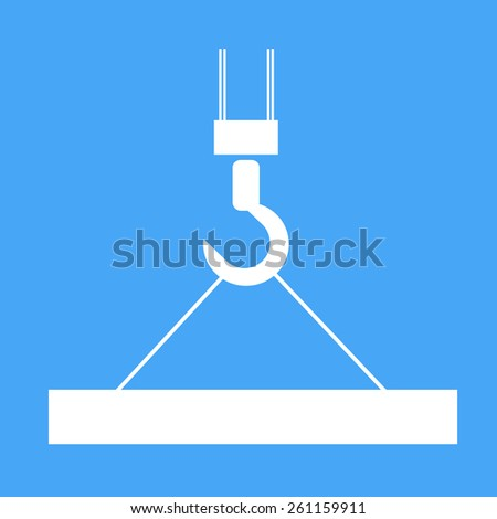 Building crane with suspended loads. Vector illustration.  - stock vector