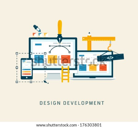 Building/Designing a website or application. Flat style vector  design - stock vector