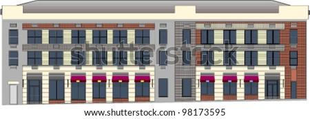 Building elevation blueprint - stock vector