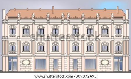 Building facade - stock vector