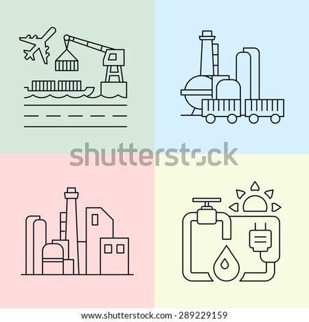 Building factory, energy and harbor flat icon, line icon - stock vector