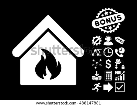 Building Fire pictograph with bonus elements. Vector illustration style is flat iconic symbols, white color, black background.