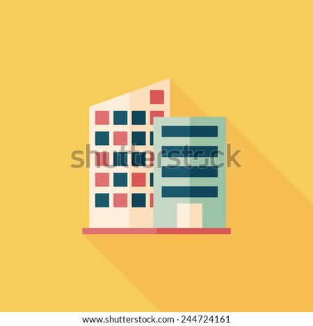 Building flat icon with long shadow,eps10 - stock vector