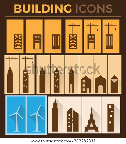 Building Flat Icons - stock vector
