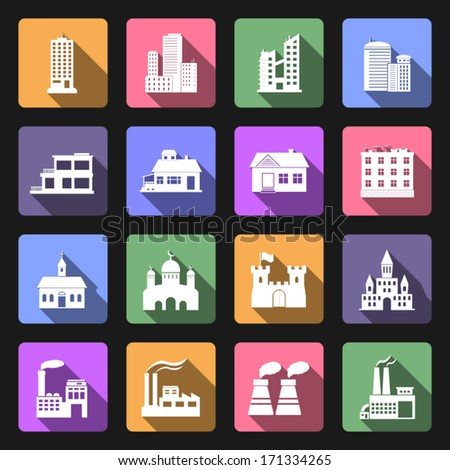 Building flat icons set - stock vector