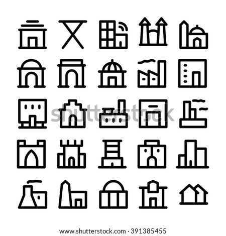 Building & Furniture Vector Icons 4 - stock vector