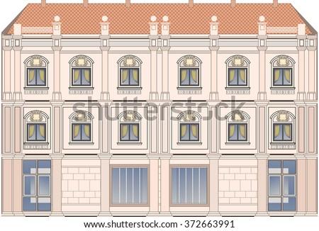 Building, hotel. - stock vector