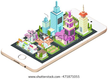 Building, house, commercial build and cityscape architecture on a smart phone mobile screen with network technology application concept in 3D isometric design in isolated background, create by vector