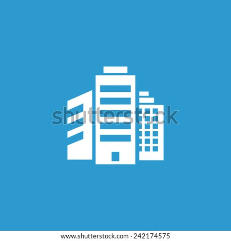 building icon, isolated, white on the blue background. Exclusive Symbols  - stock vector