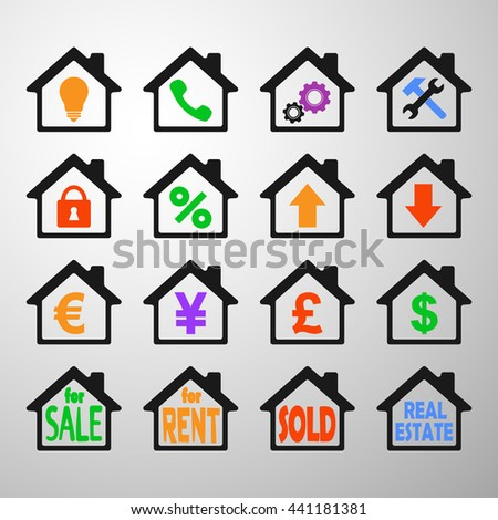 building icon set - stock vector