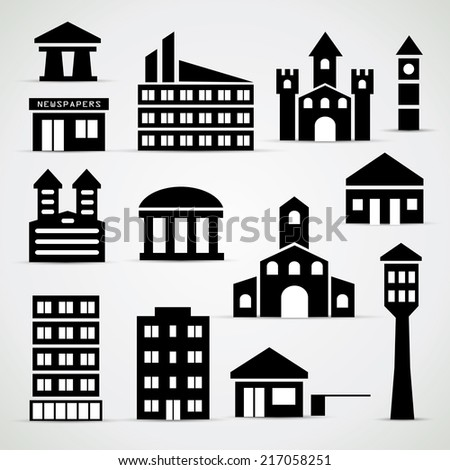 Building icon set - simple vector illustrations - stock vector
