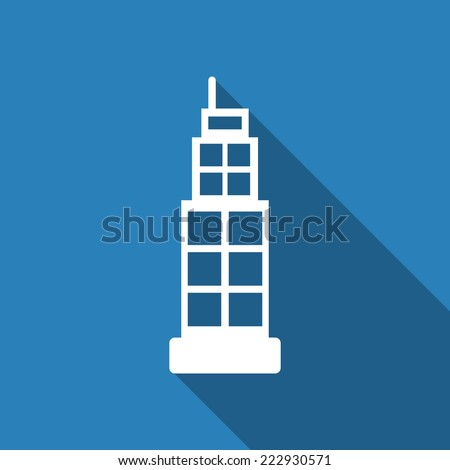 building icon with long shadow - stock vector