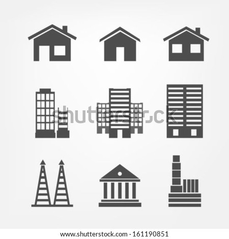Building Icons Stock Vector