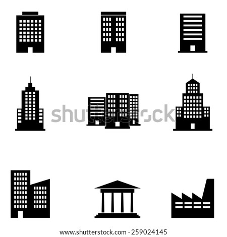 Building Icons set - stock vector