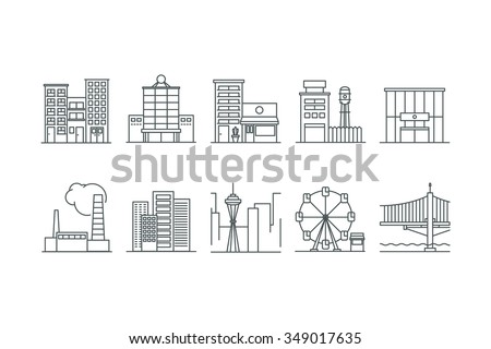 Building icons set. Line art. Stock vector. - stock vector