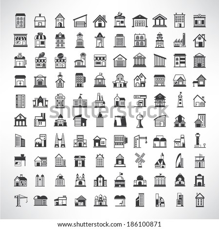building icons set, simple building buttons - stock vector
