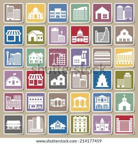 building icons set Sticker - stock vector