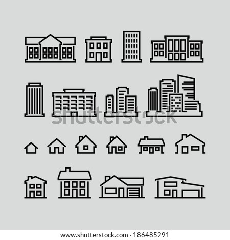 Building icons set. Strokes not expanded. Outlines not converted to objects. - stock vector