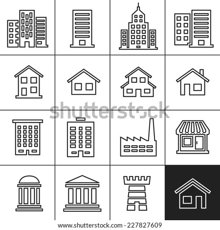 Building Icons Set. Vector illustration. Simplines series vector icons - stock vector