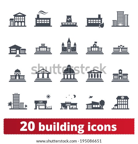 Building icons set: vector signs of places for maps, web interfaces and services. - stock vector