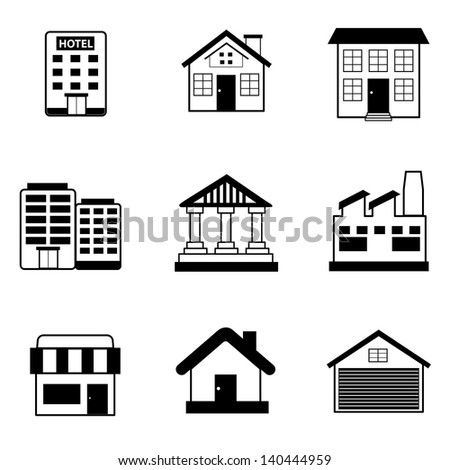 Building Icons Vector - stock vector