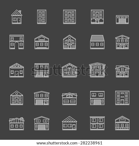 Building icons - vector set of white thin line house, or real estate symbols on black background - stock vector