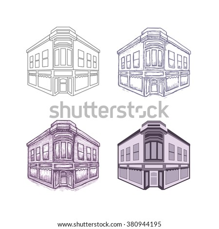 building illustration, 4 different drawing styles  - stock vector