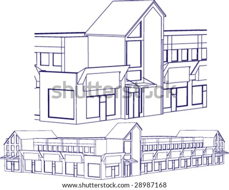 Building in blueprint style; marketplace or mall - stock vector