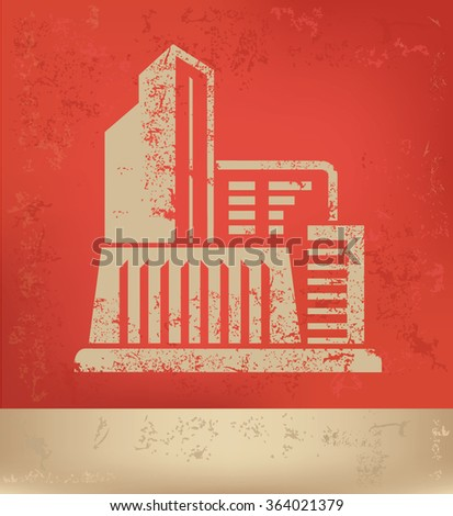 Building,Industry design on red background,grunge vector