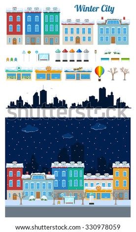 Building kit of winter urban city buildings and constructions in snow to make a real street from - stock vector