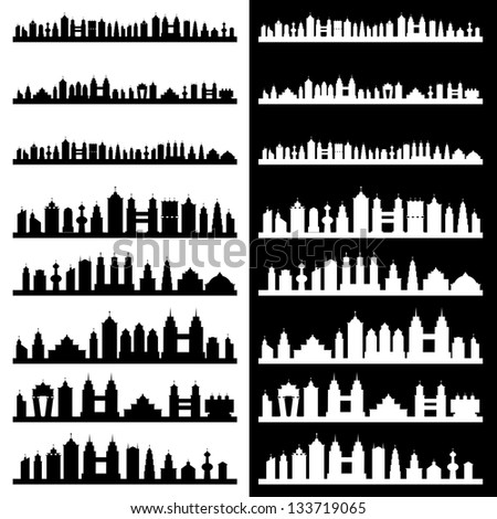 Building landscapes Black and White - stock vector