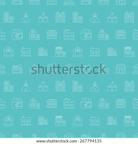 Building line icon pattern set - stock vector