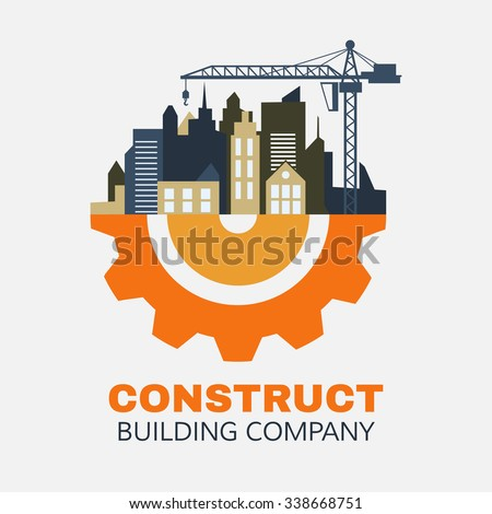 Building logo silhouette isolated : city building on cog gear icon vector: Industrial concept. - stock vector