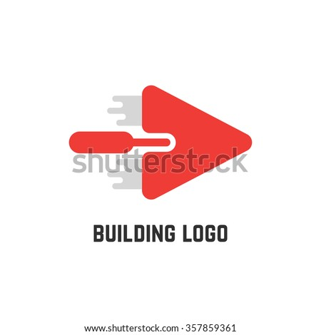 building logo with red trowel. concept of implement, workshop, household, create, major overhaul, roughcast, spatula, mason. isolated on white background. flat style modern design vector illustration - stock vector