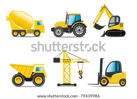 Building machines | Bella series - stock vector