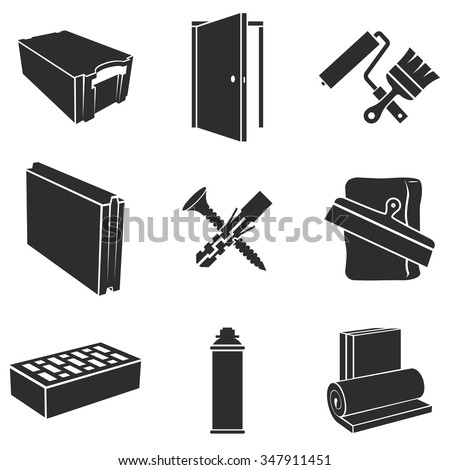 Building materials black and white vector set. - stock vector