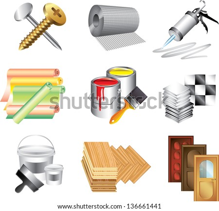 building materials icons detailed vector set - stock vector