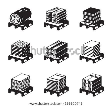 Building materials of wood - vector illustration - stock vector