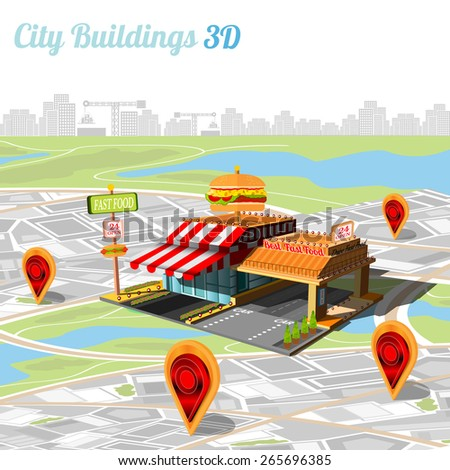 building of fast food and location their on city map - stock vector