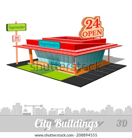 building of supermarket isolated on white - stock vector