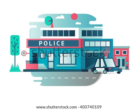 Building of the Police Department - stock vector
