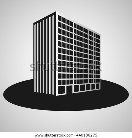 building on grey background - stock vector