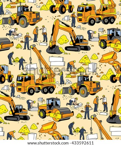 Building people and construction equipment color seamless pattern. Color vector illustration. EPS8 - stock vector