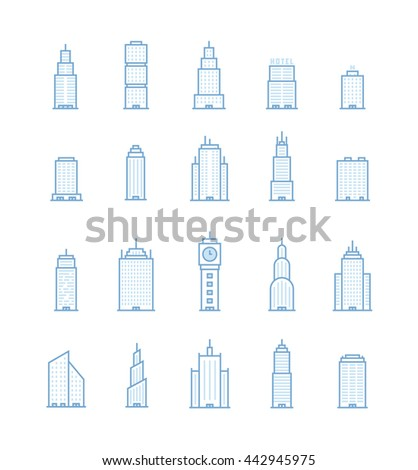 Building Real State Outline Icons - stock vector