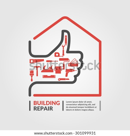 Building repair. Elements and icons for cards, illustration, poster and web design. - stock vector