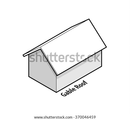 Building roof type: gable roof. - stock vector