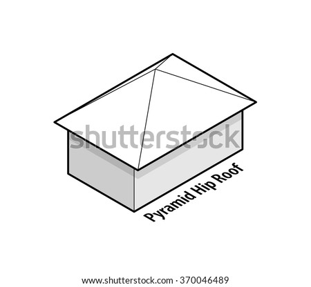 Building roof type: pyramid hip roof. - stock vector
