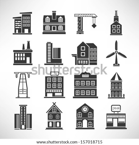 building set, building icons - stock vector